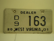 2001 WEST VIRGINIA Dealer Car License Plate D9 163
