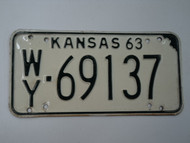 1963 KANSAS License Plate WY 69137