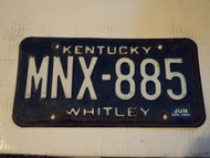 1984 KENTUCKY License Plate MNX 885