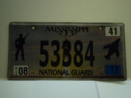 2011 MISSISSIPPI NATIONAL GAURD License Plate 53384
