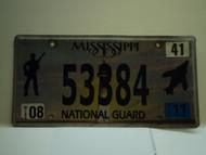 2011 MISSISSIPPI NATIONAL GAURD License Plate 53384