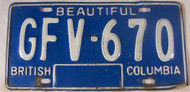 British Columbia License Plate GFV 670 Beautiful