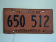 1969 ILLINOIS Land of Lincoln License Plate 650 512