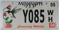 2004 Jun Mississippi Y085 WH License Plate