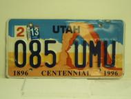 2013 UTAH Centennial 1896 License Plate 085 UMU