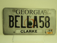2012 GEORGIA Vanity License Plate BELLA58