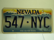NEVADA Silver State License Plate 547 NYC