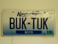 2012 KENTUCKY Unbridled Spirit VANITY License Plate BUK TUK