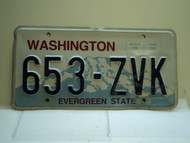 Washington Evergreen State License Plate 653 ZVK