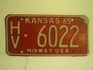 1965 KANSAS Midway USA License Plate 6022