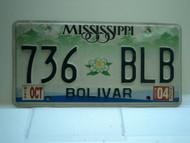 2004 MISSISSIPPI Magnolia License Plate 736 BLB