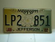 2002 MISSISSIPPI Magnolia License Plate LP2 851