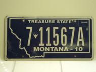 2010 MONTANA Treasure State License Plate 7 11567A