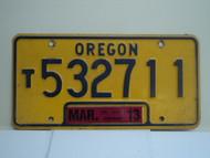 2013 OREGON Truck License Plate T532711