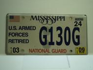 2009 MISSISSIPPI NATIONAL GAURD License Plate G130G