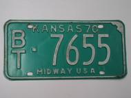 1970 KANSAS Midway USA License Plate BT 7655