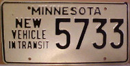 1980's Minnesota New Vehicle In Transit License Plate 5733
