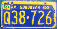 1964 Pennsylvania License Plate Suburban Q38-726