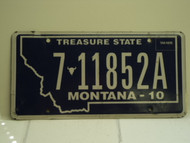 2010 MONTANA Treasure State License Plate 7 11852A