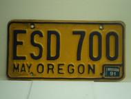 1991 OREGON License Plate ESD 700