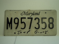 MARYLAND License Plate M957358