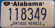 Alabama Antique Vehicle License Plate 118349 HOD