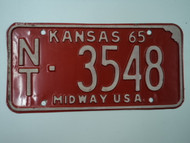 1965 KANSAS Midway USA License Plate NT 3548