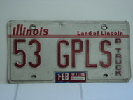 2001 ILLINOIS Land of Lincoln B Truck License Plate 53 GPLS