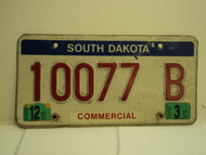 2002 SOUTH DAKOTA Commercial License Plate 10077B