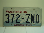 WASHINGTON Evergreen State License Plate 372 ZWO