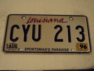 1996 1998 LOUISIANA Sportsman's paradise License Plate CYU 213