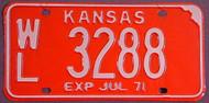 1971 Wilson Co WL Kansas License Plate