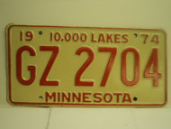 1974 MINNESOTA 10000 Lakes License Plate GZ 2704