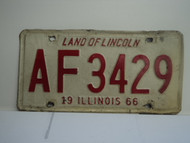 1966 ILLINOIS Land of Lincoln License Plate AF 3429