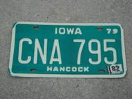1979 1982 IOWA License Plate CNA 795