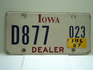 2007 IOWA Dealer License Plate  D877 023