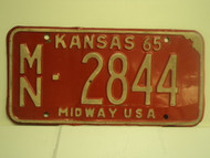 1965 KANSAS Midway USA License Plate MN 2844