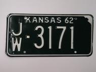 1962 KANSAS License Plate JW 3171