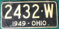 1949 Ohio License Plate Waffle 2432 W