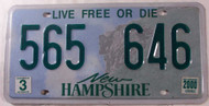 2000 March New Hampshire 565 646 License Plate