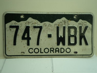 COLORADO License Plate 747 WBK