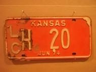 1974 June Kansas LCH 20 License Plate