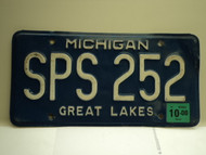 2000 MICHIGAN Great Lakes License Plate SPS 252