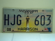 2011 MISSISSIPPI Lighthouse License Plate HJG 603