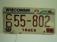 2001 WISCONSIN Truck License Plate CD 55 802
