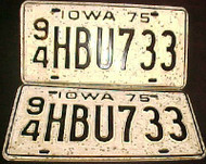 1975 Iowa 94 Webster License Plate PAIR 1