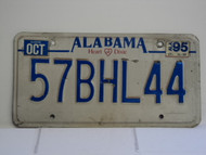 1995 ALABAMA Heart of Dixie License Plate 57BHL44