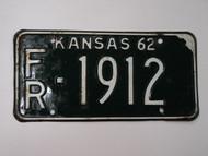 1962 KANSAS License Plate FR 1912