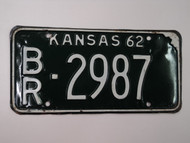 1962 KANSAS License Plate BR 2987