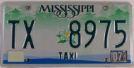 2007 Mississippi TAXI TX 8975 License Plate